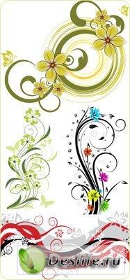 Цветочные элементы дизайна в векторе