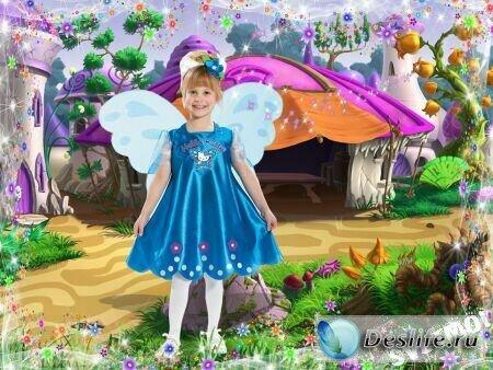 Девочка-бабочка - Детский шаблон для фотошопа