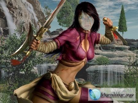 Девушка-воин - Фэнтази костюм для фотошопа