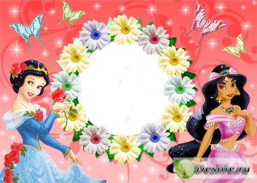 Принцессы в цветах - Рамка для фотошопа