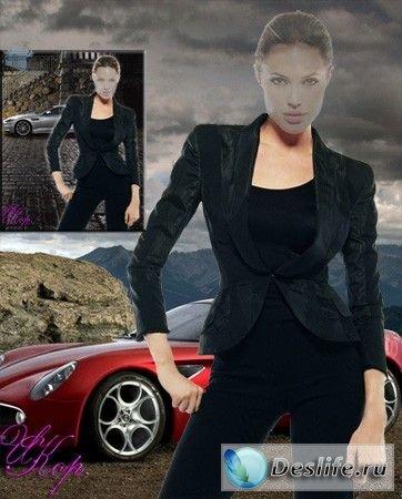 Девушка у машины - Костюм для фотошопа