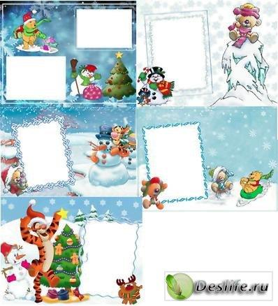 Детские зимнии рамки для фотошопа