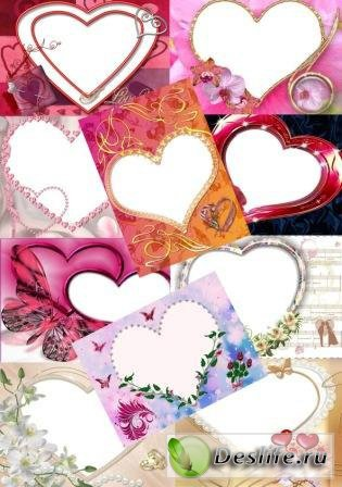 С сердечками - Набор рамочек для фотошопа