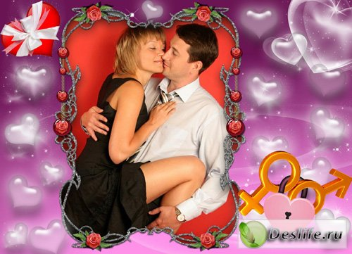 Влюблённые сердца - Рамка для фотошопа
