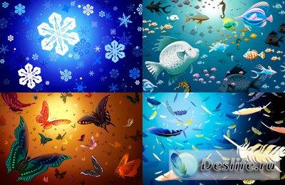 Клипарт - Снежинки, Бабочки, Рыбы, Перо.