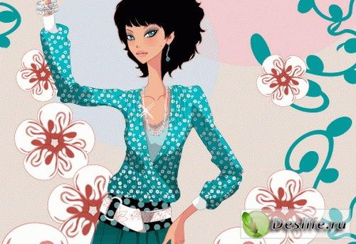 Девушка в цветах - Векторный клипарт