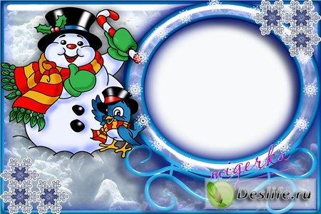 Детская новогодняя рамочка - Снеговик