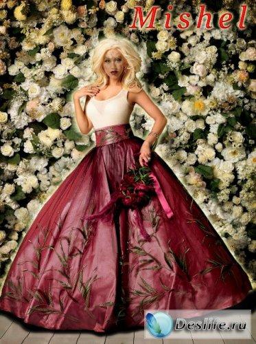 Дама в цветах - Костюм для фотошопа