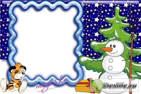 Снеговик - Детская новогодняя рамочка