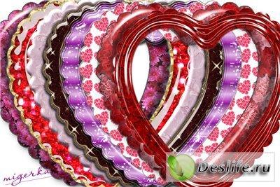 Набор рамочек для фотошопа - Сердечки