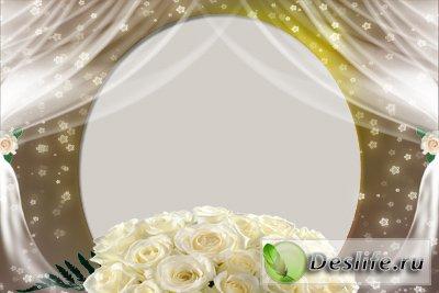 Белые розы - Рамочка для фотошопа