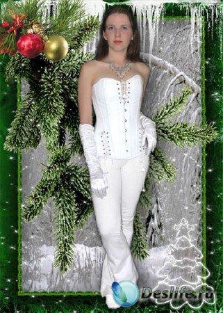 Снегурочка Зимним днём - Костюм для фотошопа