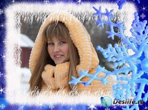 Рамка для фотошоп – Падают снежинки