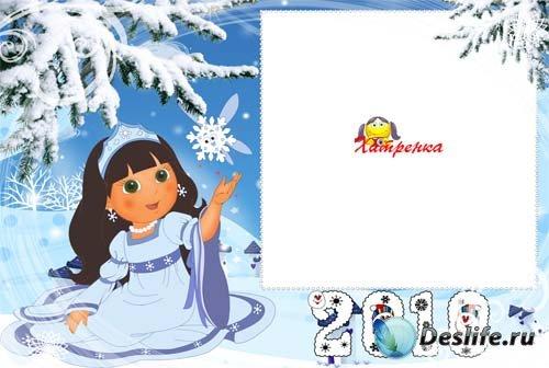 Зимняя рамочка с девочкой-снежинкой