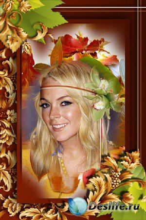 Рамка-шаблон для Фотошопа: Осенняя, Золотая.