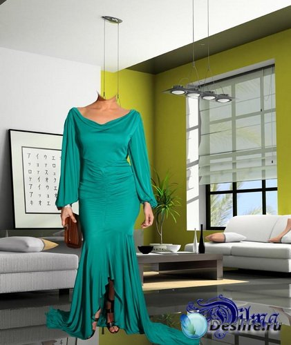 Дама в зеленом - Костюм для фотошоп
