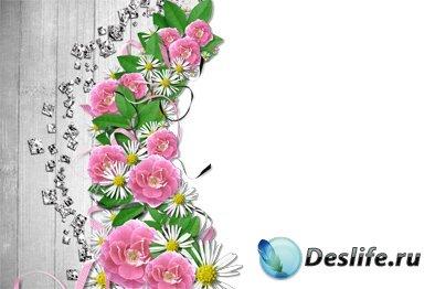 Цветочные мотивы - Рамка для фотошопа