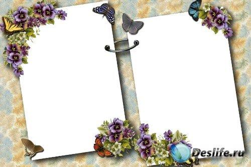 Рамка для фотошоп – Цветочный альбом