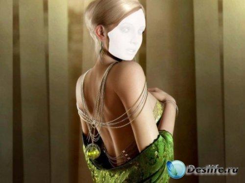 Блондинка в зелёном платье - Костюм для фотошопа