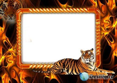 Рамка для фотошоп – Тигр и пламя