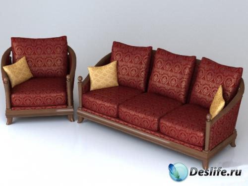 3D Модель классического дивана и кресла