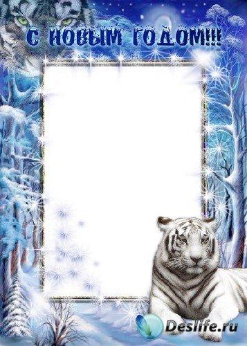Рамка для фотошоп – Тигр в зимнем лесу