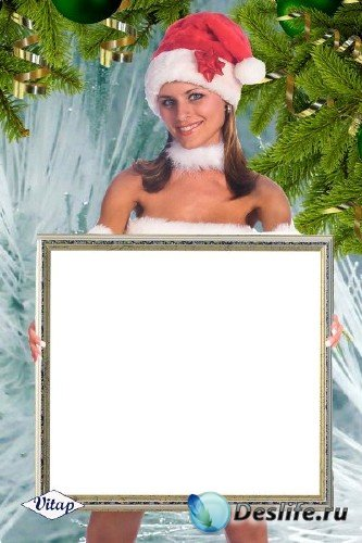 Рамка для фотошоп – Девушка Санта