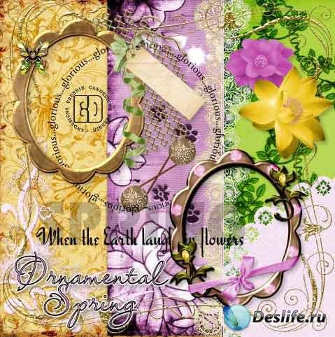 Скрап-набор – Ornamental spring