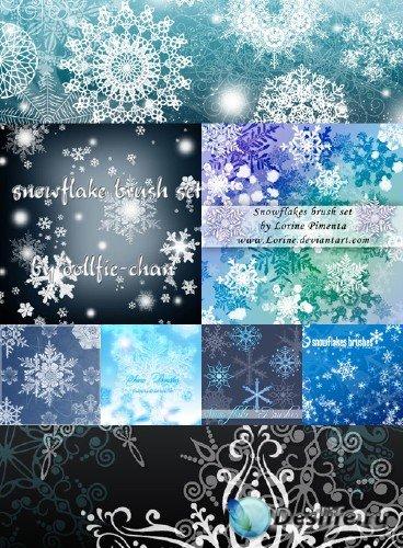 Снежинки - Кисти для фотошопа (Snowflakes Photoshop Brush Pack)