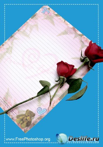 Роза на листке бумаги - PSD-исходник