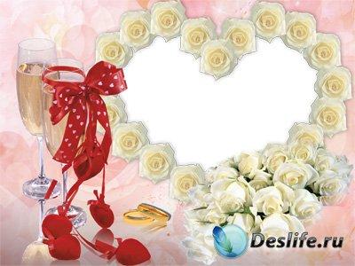 Свадебная рамка для фотошопа в белых розах