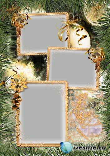 Детская новогодняя рамка «На ёлке»