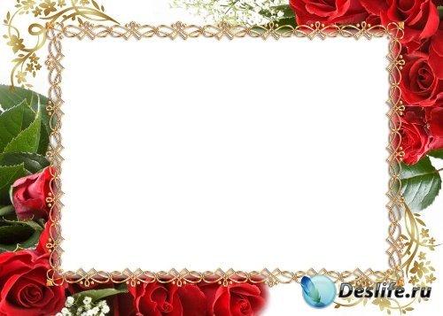 Рамка для фотошоп – Торжественная с красными розами