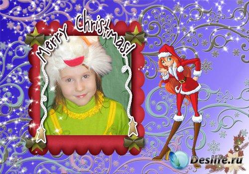 Рамочка для фотошопа - Рождественская с Блум Винкс