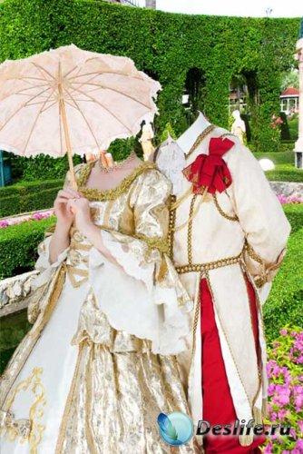 Костюм для фотошопа - Влюблённая пара в саду