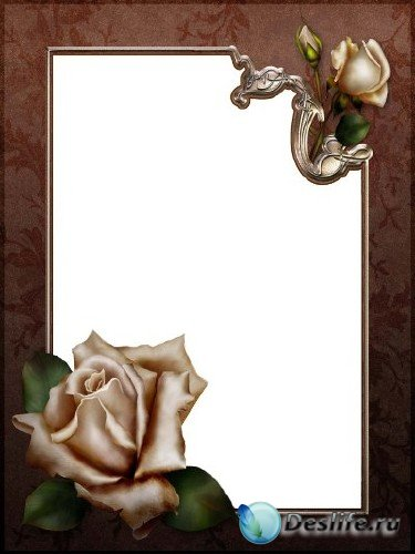 Рамка для фотошопа – Антикварная с розами