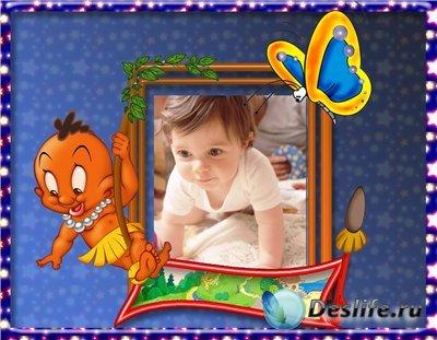 Рамка для фотошопа - Детская синяя