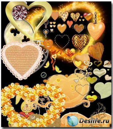 Желтые сердечки - Векторный клипарт