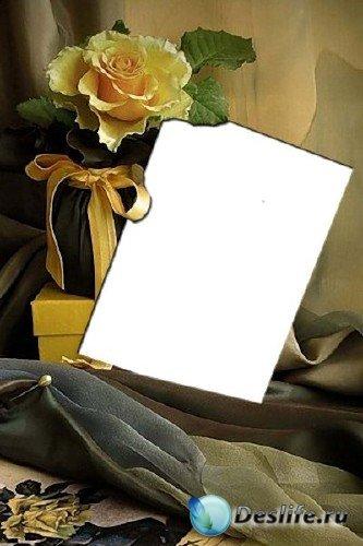 Рамка для фотошопа – Фото с желтой розой