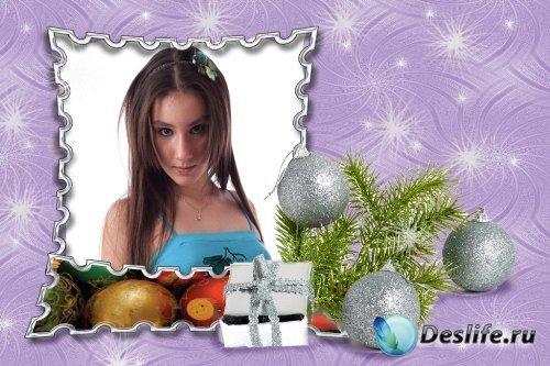 Рамка для фотошоп – Зимняя с шарами