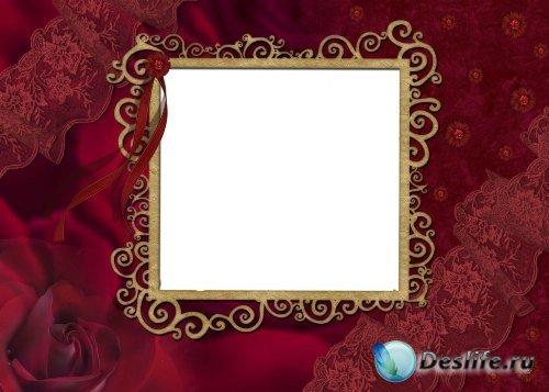 Рамка для фотошоп – Винтажная красная