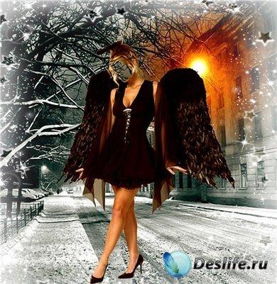 Женский костюм для фотошопа - Ангел в ночи