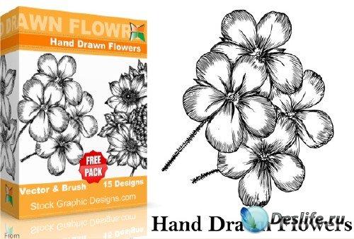 Кисти для фотошопа в виде цветов нарисованных от руки
