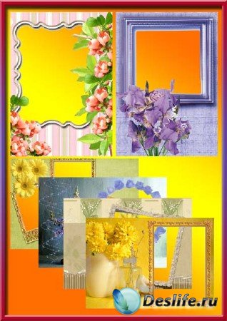 Рамки для фотошопа на фоне цветов