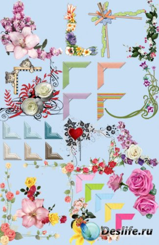 Цветочные уголки для рамок