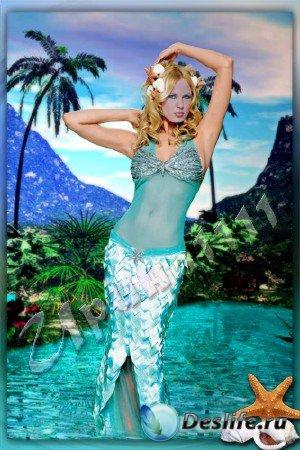 Женский костюм для Photoshop - Голубая лaгуна