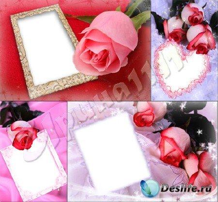 Набор романтических рамок с розами для Photoshop