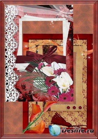 Рамки в бордовом цвете