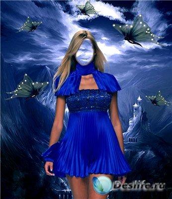 Шаблон для фотошопа - Девушка в синем платье