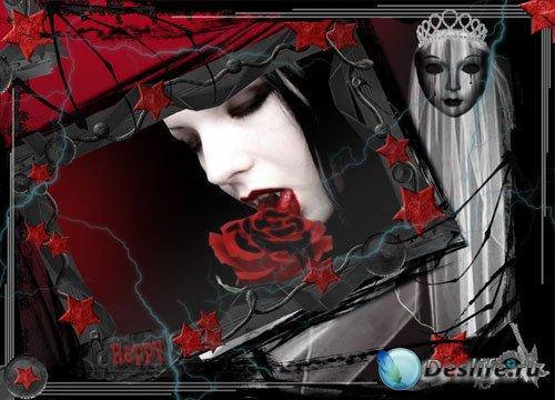 Рамка для Photoshop - Красная роза красивый подарок